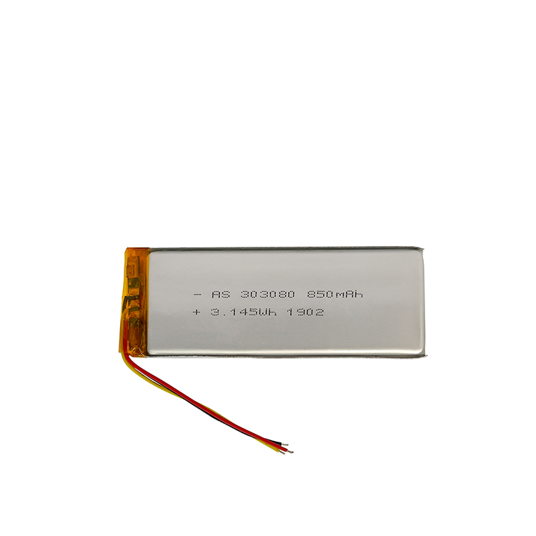 Rechargeable 303080 3.7v 850mAh lithium polymer battery with IEC62133/UN38.3 certificates