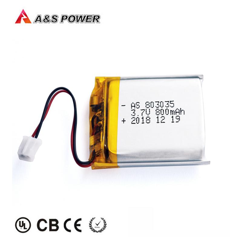 UL/KC/UN38.3 Certified Li polymer 3.7v 800mAh AS803035 Lithium polymer battery