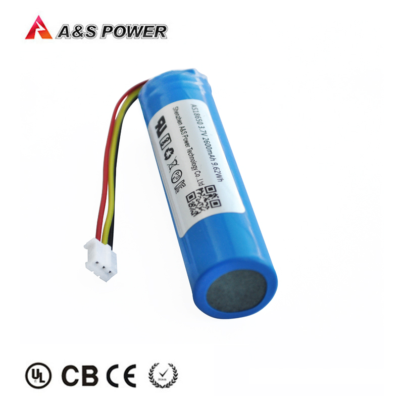 UL2054/CB/KC/BIS/UN38.3 certified 18650 3.7V 2600mah lithium ion battery with 3 wires