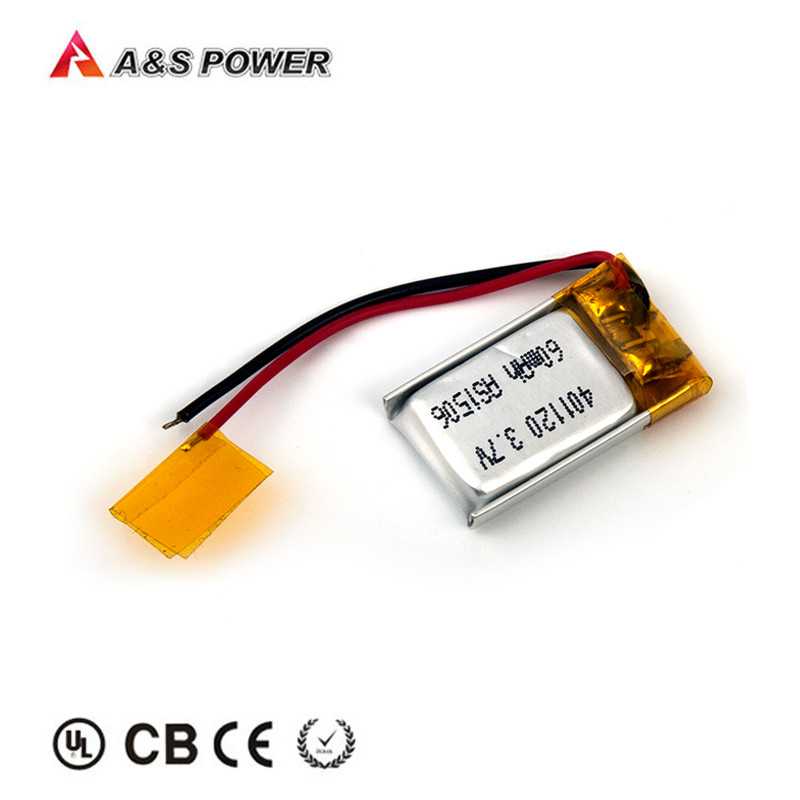 OEM ODM 401120 3.7v 60mah luthium polymer battery with UL1642 certification